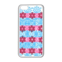 Pink Snowflakes Pattern Apple iPhone 5C Seamless Case (White)