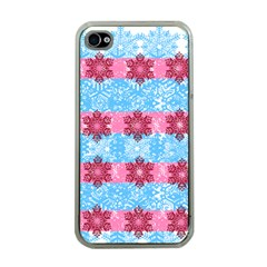 Pink Snowflakes Pattern Apple iPhone 4 Case (Clear)