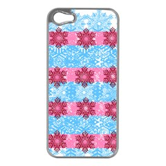 Pink Snowflakes Pattern Apple iPhone 5 Case (Silver)