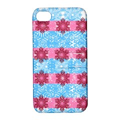 Pink Snowflakes Pattern Apple iPhone 4/4S Hardshell Case with Stand