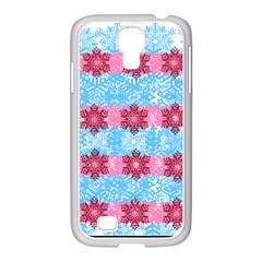 Pink Snowflakes Pattern Samsung GALAXY S4 I9500/ I9505 Case (White)