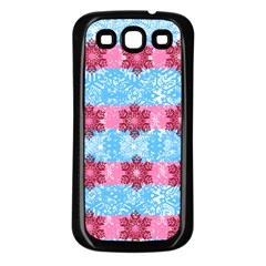 Pink Snowflakes Pattern Samsung Galaxy S3 Back Case (Black)