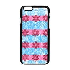 Pink Snowflakes Pattern Apple iPhone 6/6S Black Enamel Case