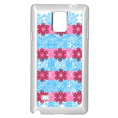 Pink Snowflakes Pattern Samsung Galaxy Note 4 Case (White)