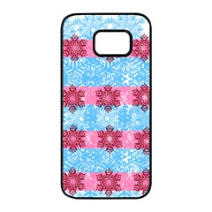 Pink Snowflakes Pattern Samsung Galaxy S7 Edge Black Seamless Case