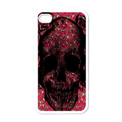 Vintage Pink Flowered Skull Pattern  Apple iPhone 4 Case (White)