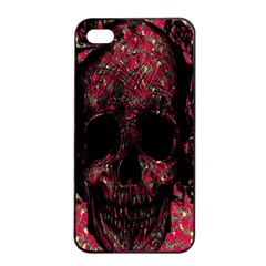 Vintage Pink Flowered Skull Pattern  Apple iPhone 4/4s Seamless Case (Black)