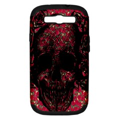Vintage Pink Flowered Skull Pattern  Samsung Galaxy S III Hardshell Case (PC+Silicone)