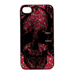 Vintage Pink Flowered Skull Pattern  Apple iPhone 4/4S Hardshell Case with Stand