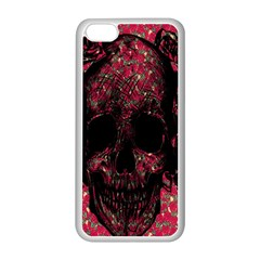 Vintage Pink Flowered Skull Pattern  Apple iPhone 5C Seamless Case (White)