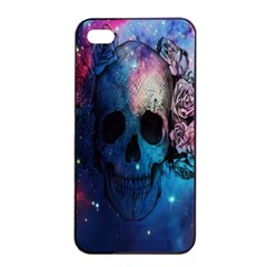 Colorful Space Skull Pattern Apple iPhone 4/4s Seamless Case (Black)