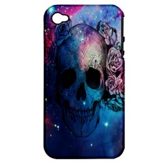 Colorful Space Skull Pattern Apple iPhone 4/4S Hardshell Case (PC+Silicone)