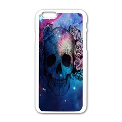 Colorful Space Skull Pattern Apple iPhone 6/6S White Enamel Case