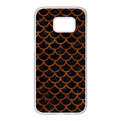 Scales1 Black Marble & Brown Marble Samsung Galaxy S7 Edge White Seamless Case
