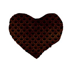 Scales2 Black Marble & Brown Marble Standard 16  Premium Heart Shape Cushion