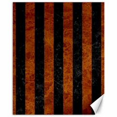 Stripes1 Black Marble & Brown Marble Canvas 11  X 14