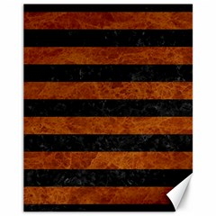 Stripes2 Black Marble & Brown Marble Canvas 11  X 14