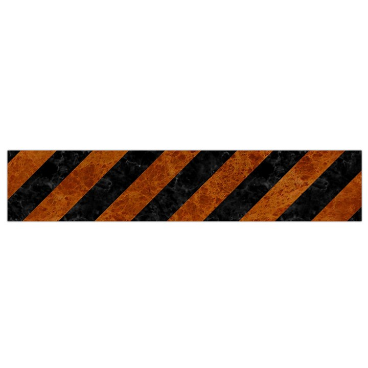 STRIPES3 BLACK MARBLE & BROWN MARBLE Flano Scarf (Small)