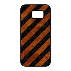 Stripes3 Black Marble & Brown Marble Samsung Galaxy S7 Edge Black Seamless Case