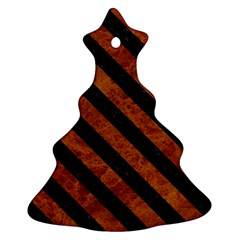 Stripes3 Black Marble & Brown Marble (r) Ornament (christmas Tree)