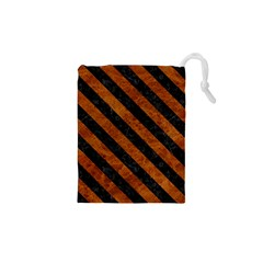 Stripes3 Black Marble & Brown Marble (r) Drawstring Pouch (xs)