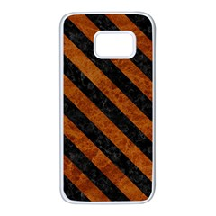 Stripes3 Black Marble & Brown Marble (r) Samsung Galaxy S7 White Seamless Case