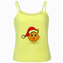 Cat Christmas Cartoon Clip Art Yellow Spaghetti Tank
