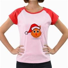 Cat Christmas Cartoon Clip Art Women s Cap Sleeve T Shirt