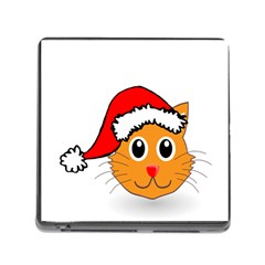 Cat Christmas Cartoon Clip Art Memory Card Reader (square)