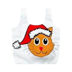 Cat Christmas Cartoon Clip Art Full Print Recycle Bags (m)