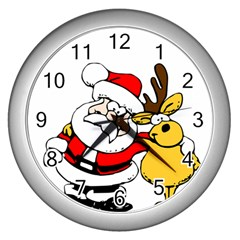 Christmas Santa Claus Wall Clocks (silver)