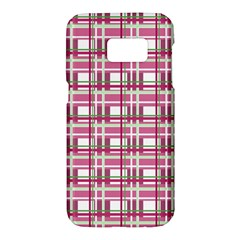 Pink Plaid Pattern Samsung Galaxy S7 Hardshell Case