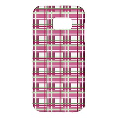 Pink plaid pattern Samsung Galaxy S7 Edge Hardshell Case