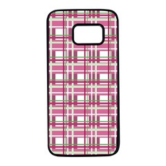 Pink plaid pattern Samsung Galaxy S7 Black Seamless Case