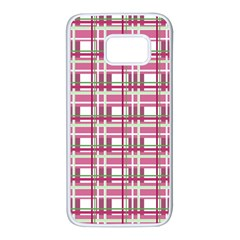 Pink plaid pattern Samsung Galaxy S7 White Seamless Case