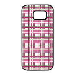 Pink plaid pattern Samsung Galaxy S7 edge Black Seamless Case