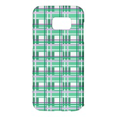 Green plaid pattern Samsung Galaxy S7 Edge Hardshell Case