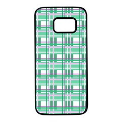 Green plaid pattern Samsung Galaxy S7 Black Seamless Case