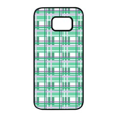 Green plaid pattern Samsung Galaxy S7 edge Black Seamless Case