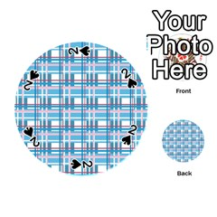 Blue plaid pattern Playing Cards 54 (Round)