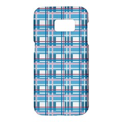Blue plaid pattern Samsung Galaxy S7 Hardshell Case