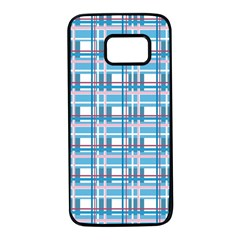 Blue plaid pattern Samsung Galaxy S7 Black Seamless Case