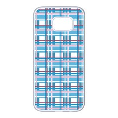 Blue plaid pattern Samsung Galaxy S7 edge White Seamless Case