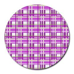 Purple plaid pattern Round Mousepads