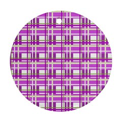 Purple plaid pattern Ornament (Round)