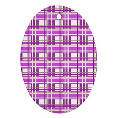 Purple plaid pattern Ornament (Oval)