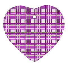 Purple plaid pattern Ornament (Heart)