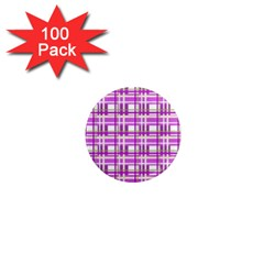 Purple plaid pattern 1  Mini Magnets (100 pack)