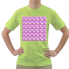 Purple plaid pattern Green T-Shirt