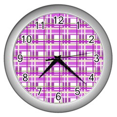 Purple plaid pattern Wall Clocks (Silver)